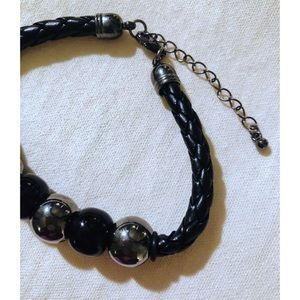Jewelry - Vintage Faux Leather Braided Bracelet with Beads